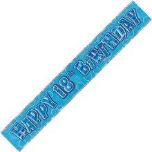 Age 18 Birthday Banner Blue Glitz