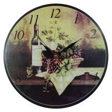 Obique Home Decoration Wine Bottle & Grapes Scene MDF Wall Clock 34cm