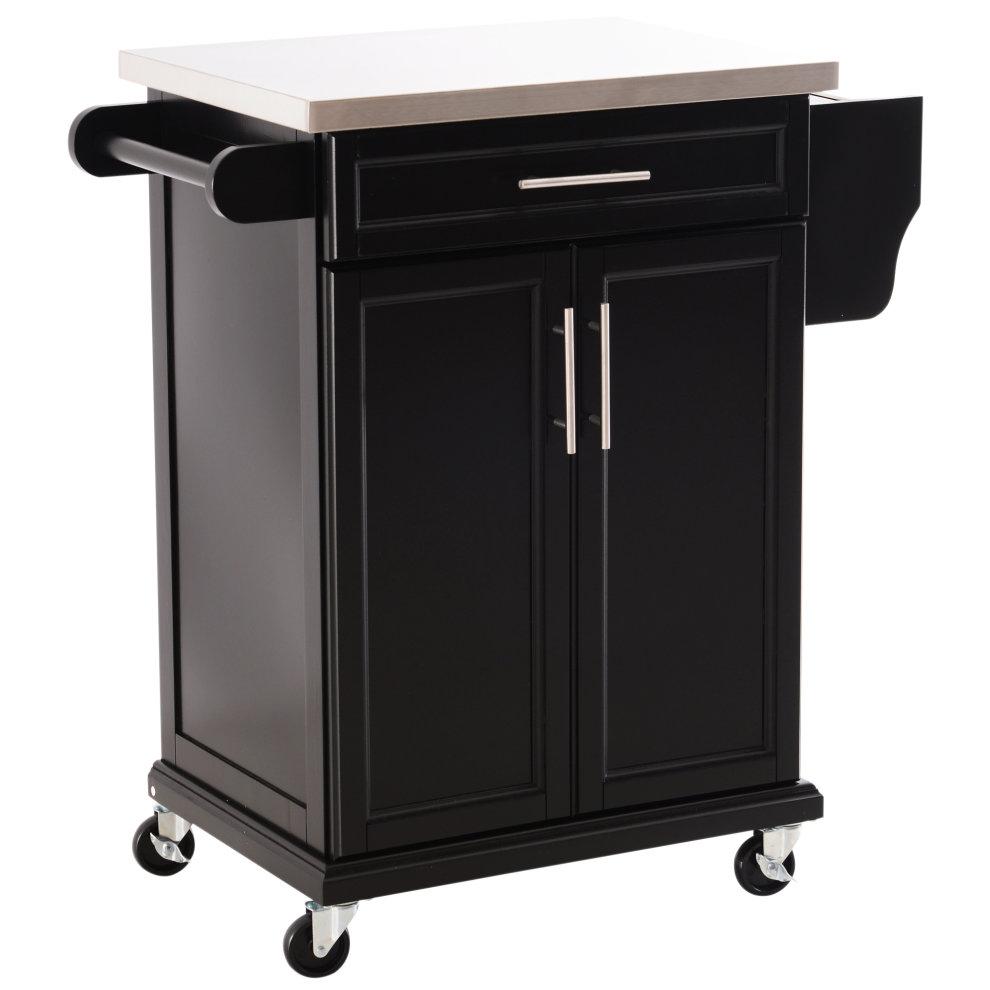 Kitchen Cart With Cabinet: HOMCOM Wooden Kitchen Cart Serving Trolley Storage Cabinet