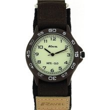 Ravel Analogue Boys Brown & Beige Nite-Glo Fabric Velcro Strap Watch R1705.4