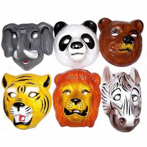 Animal Wild Childrens Face Masks Fancy Jungleamp; 6 Plastic Fun YW2DH9EI