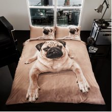 Pug 3D print cotton blend duvet cover bedding set