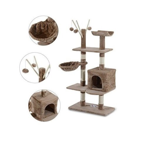 Pawhut Cat Tree Activity Centre Scratch Post Rest Bed Toy 135cm