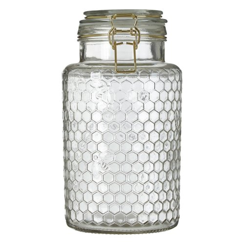 Apiary Gold Wire Large Clear Glass Jar Honeycomb Pattern