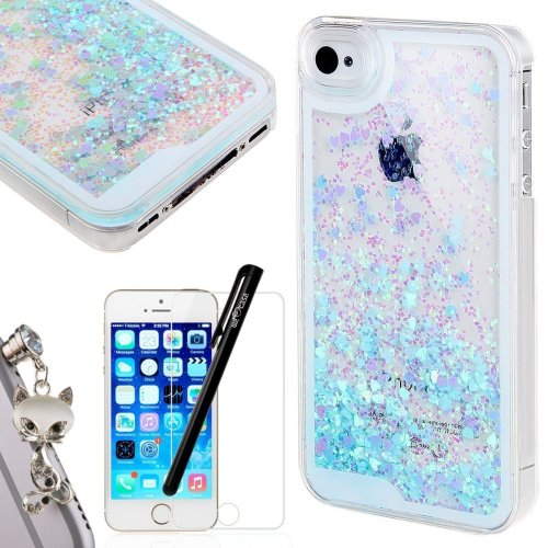 san francisco 7e011 0f84b iPhone 5 Case, WELOVECASE iPhone SE Case Glitter Bling Cover Flowing  Floating Liquid Swimming Plastic iPhone 5S Case Blue for Girls Clear Hard...