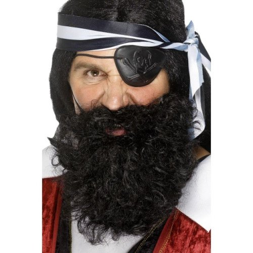 Smiffys Nylon Deluxe Pirate Beard - Black -  beard black pirate fancy dress costume mens deluxe smiffys