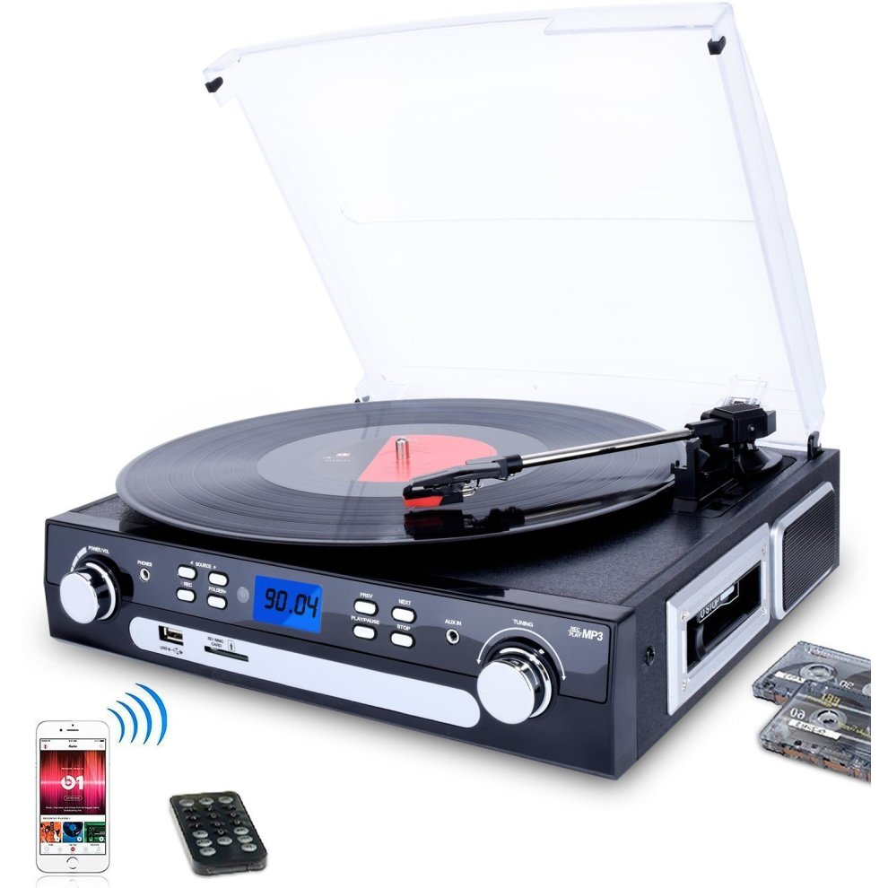 DIGITNOW! Bluetooth Record Player with Stereo Speakers, Turntable for Vinyl  to MP3 with Cassette Play, AM/FM Radio, Remote Control, USB/SD