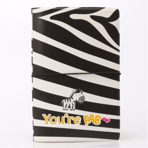 Cute Zebra Passport Cover With Ticket Pouch and Elastic Band