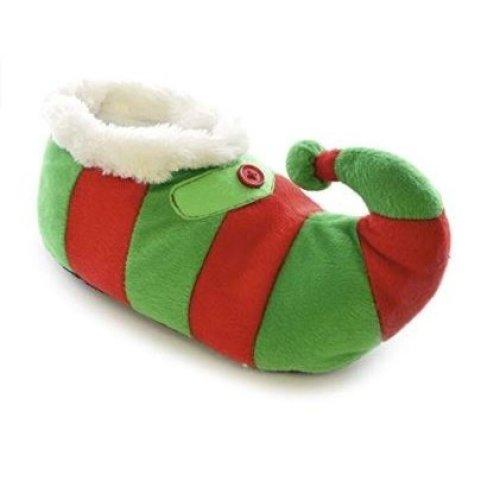 Kids Large 13/1 Plush Novelty Plush 3D Christmas Elf Slippers Green/Red