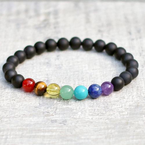 SpiritX Chakra Bracelet Frosted Black Onyx Semi-Precious Gemstones