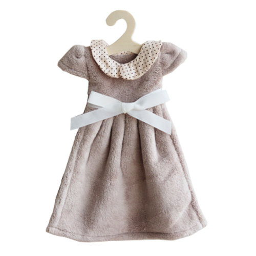 Lovely Soft Thick Hanging Princess Dress Hand Towels Drying Wipe Dotted Khaki