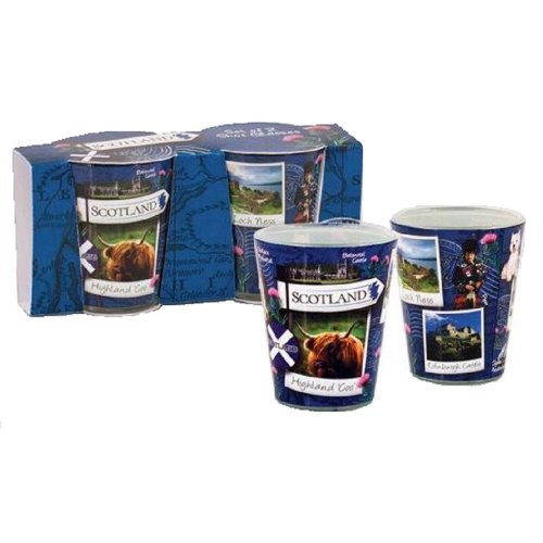 Set of 2 Scotland Snapshot Shot Glasses Glass Scottish Scenes Collage Souvenir Gift Edinburgh Castle Loch Ness Flag