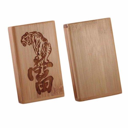 Wooden Cigarette Case Holder Pocket Carrying Magnetic Cigarette Case, For 20 Thin Cigarettes Use, Rich and Tiger