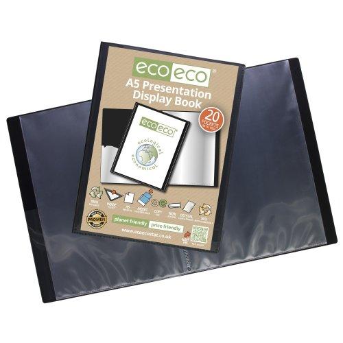 24 x A5 Recycled 20 Pocket(40 Views) Presentation Display Book - Black