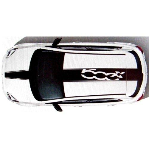 Fiat 500 X Genuine Roof & Bonnet Black Decal Stripes Graphic Kit  50927500