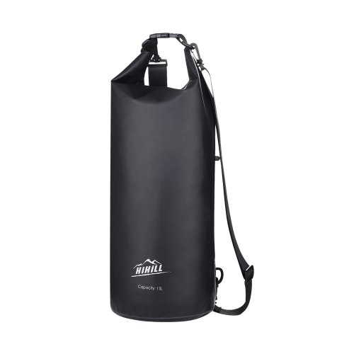Waterproof Bag, Hilhill 15Litre Dry Bag and Waterproof Phone Case 2-in-1, with Headphone Transfer Interface, PVC, Black, for...