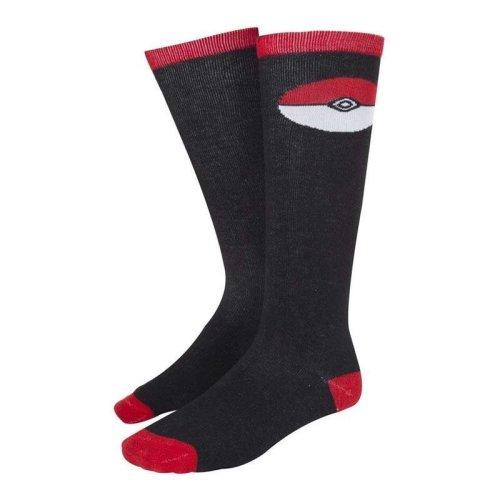 Pokemon Womens Poke Ball Knee High Casual Socks - Black/Red (KH021006POK)