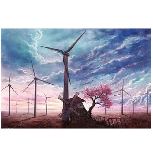 Fashionable Wooden Puzzle For Adult 1000 Piece Jigsaw Puzzle, Windmill