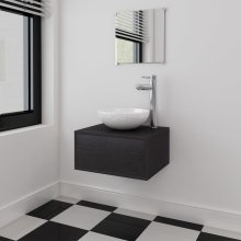vidaXL Four Piece Bathroom Furniture Set with Basin with Tap Black