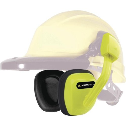 Delta Plus SUZUKA Clip On Ear Defenders for Safety Hard Hat Helmets SNR 27 dB (Yellow or Black)