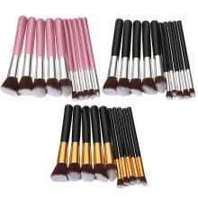 10 Pcs Wooden Handle Makeup Brush Set
