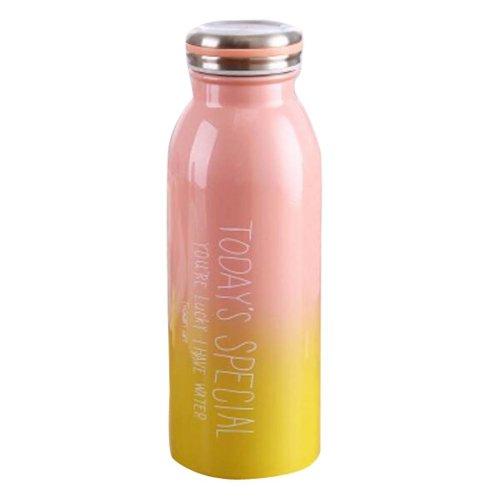 Cute Warm Water Bottle Women High Capacity Insulation Cup 450ML-Pink