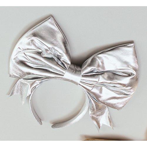 80's Silver Bow On Headband -  fancy dress bow headband accessory silver adult HEADBAND SILVER GIANT BOW FANCY DRESS COSTUME ADULT