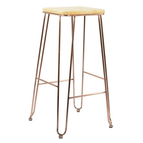 Arzi Copper Industrial Fixed Height Bar Stool 75cm 41 5cm Wood Satin