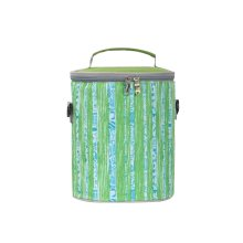 Round Waterproof Insulation Bags Green Striped Lunch Bags