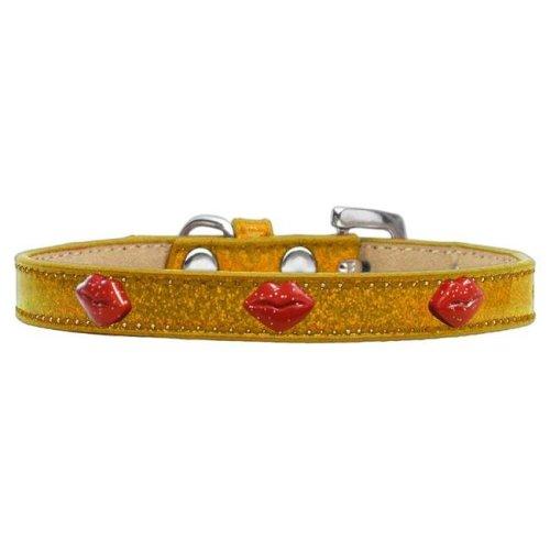 Mirage Pet 633-8 GD20 Red Glitter Lips Widget Dog Collar - Gold Ice Cream, Size 20