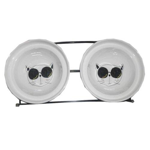 Little Double Bowls Set Ceramic Feeding Pot/Pet Bowls/Dog Bowls/Cat Bowls For Food & Water S Size(C#08)