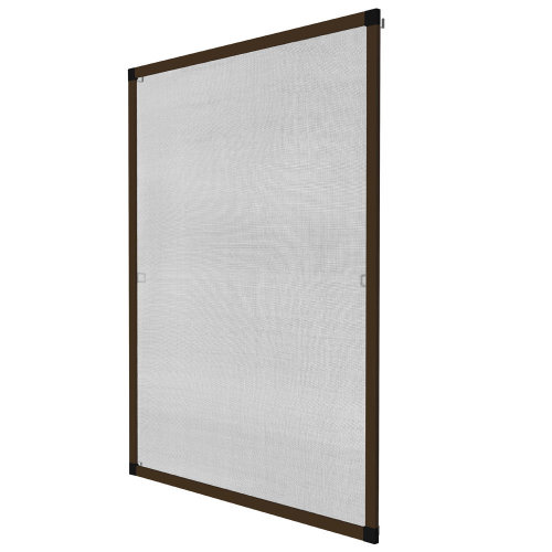 Fly screen for window frame 120 x 140 cm brown