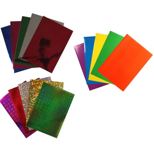 3 Packs A4 Peel & Stick Holographic Metallic Coloured Paper 30 Sheets