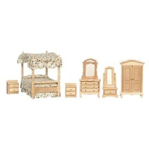 Town Square Miniatures Oak Canopy Bedroom Set