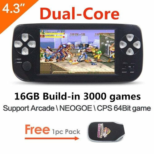CZT 16GB Dual-core 4.3 inch screen 64Bit Handheld Game Console Portable Game Console build in 3000 no-repeat game for...