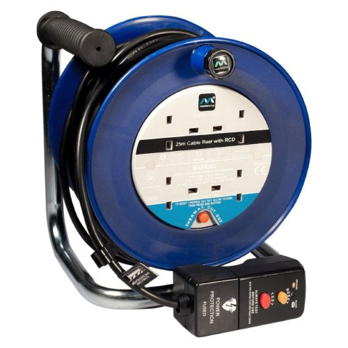 Masterplug LDCC2513/4BLRCD 25m 4 Socket 13 Amp Open Cable Reel with RCD Attached with Thermal Cut Out and Reset Button