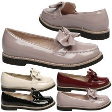 Bethan Girls Kids Flat Bow Detail Slip On Loafers