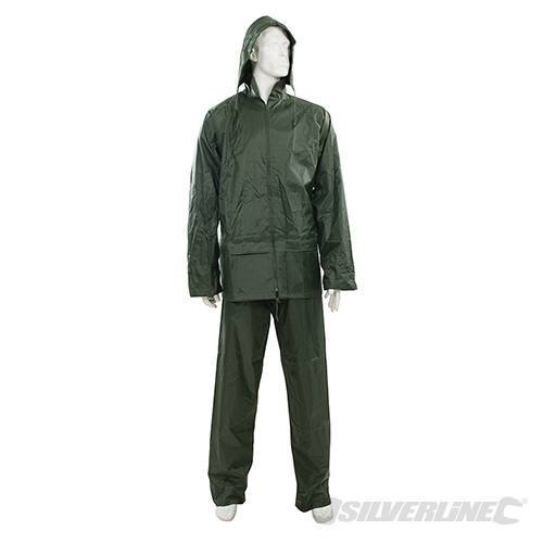 "Silverline Rain Suit Green 2pce XL 76 - 134cm (30 - 53"") - 76 134cm 30 53 456423 -  rain suit green 76 134cm 30 53 2pce xl silverline 456423"