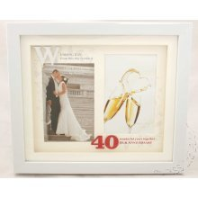 40th Anniversary White Double Photo Frame from Juliana's Impressions range