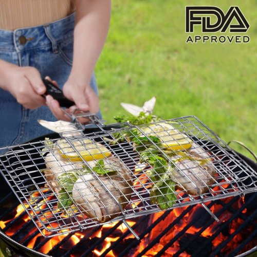 WolfWise Portable BBQ Fish Grilling Basket Grates, Barbecue Burger Vegetable Sausage Food Meat Flip Foldable Rack Holder, 430 Stainless Steel 32 x...
