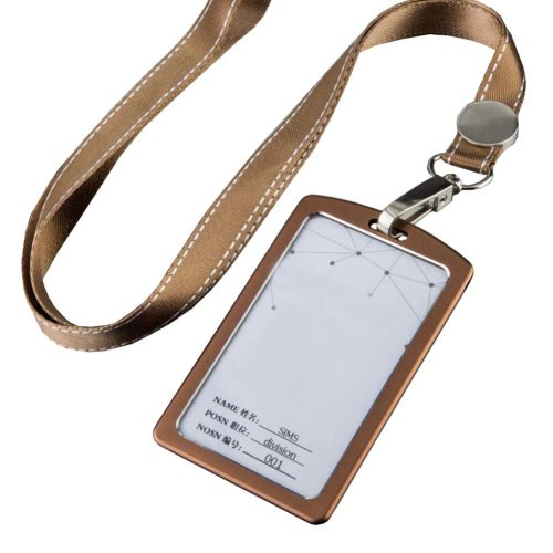 Aluminum Alloy Vertical Style ID Card Badge Holder with Neck Lanyard Strap 3PCS, 06