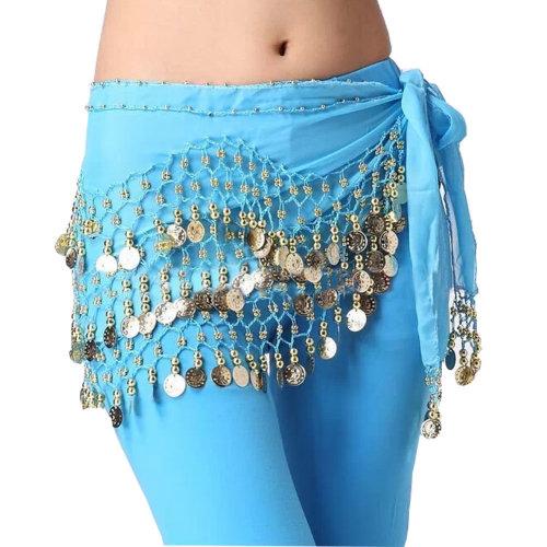 Chiffon Light Blue Belly Dance Scarf With Dangling Gold Coin Belt Skirt 158 Coin
