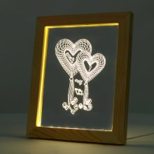 Kcasa FL-704 3D Photo Frame Illuminative LED Night Light Wooden Heart Desktop Decorative USB Lamp For Bedroom Art Decor Christmas Gifts