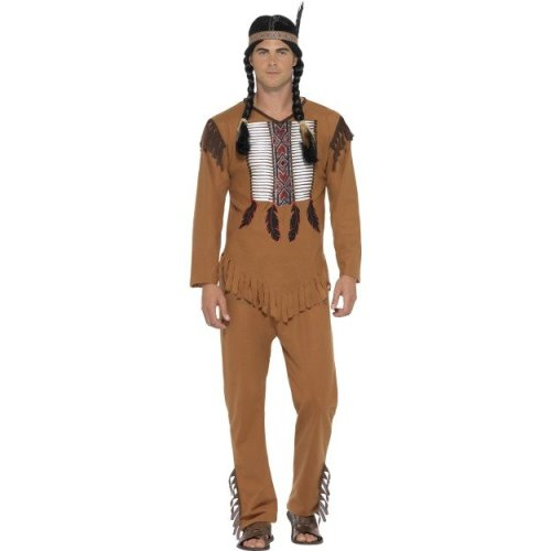 Small Men's Native Western Warrior Indian Costume - Mens Fancy Dress American -  costume mens native fancy dress warrior indian american western red