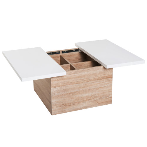 Homcom Wooden Mordern Coffee Table Sliding Top With Inside Storage