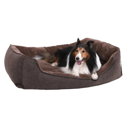 SONGMICS XXL Washable Dog Bed, 110 x 75 x 27 cm, Removable Cover, Cuddly Dog Sofa, Brown, PGW12CC