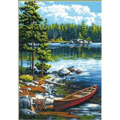 Dpw91446 - Paintsworks Paint by Numbers - Canoe by the Lake