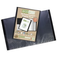 24 x A5 Recycled 20 Pocket(40 Views) Presentation Display Book - Black