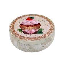 Round Cute Pill Boxes Candy Metal Case Storage Box, Cake Pattern