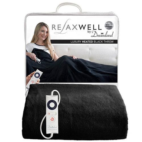 Relaxwell By Dreamland Luxury Heated Black Throw